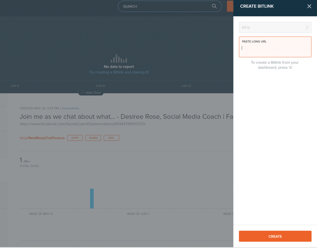 Create a short redirected link with bitly